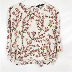 Zara Woman Floral Split Side Blouse